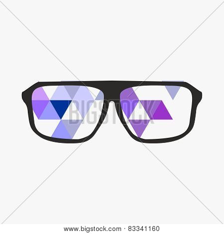 Nerd glasses on grey background with triangle flat surface mosaic