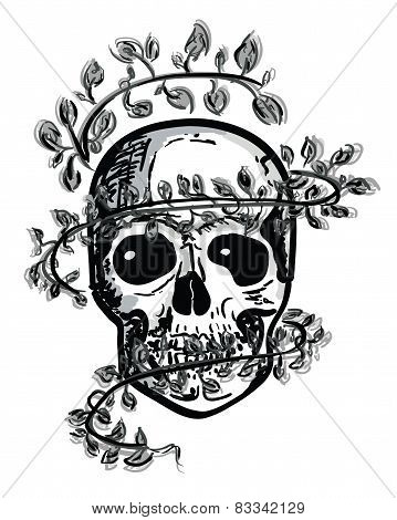 PrintHand Draw Scull with leaves