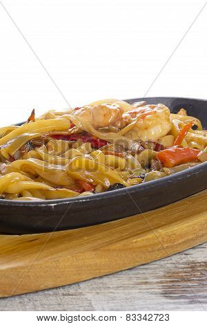 Udon (thick Wheat Noodles) With Fried Meat And Vegetables