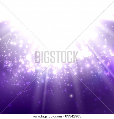 abstract illustration of light rays on the deep purple background