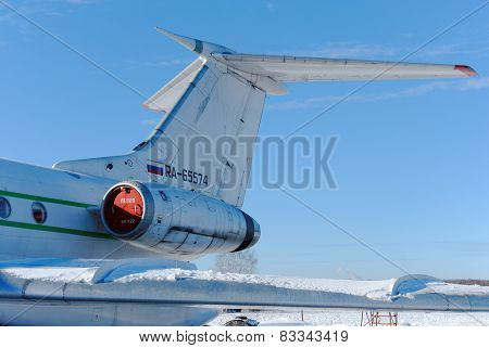 NIZHNY NOVGOROD. RUSSIA. FEBRUARY 17, 2015. Tail part of the plane Tu-134B-3