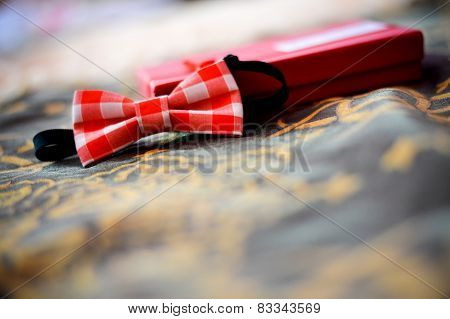 Bow Tie With Red Squares