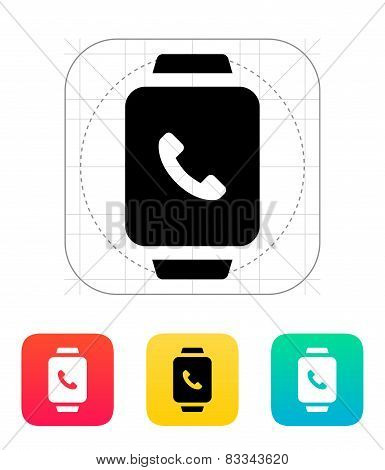 Smart watch call with handset icon.