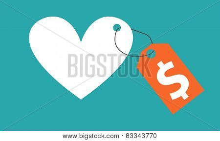 Price of love. Heart with a price tag on a blue background. Vector illustration