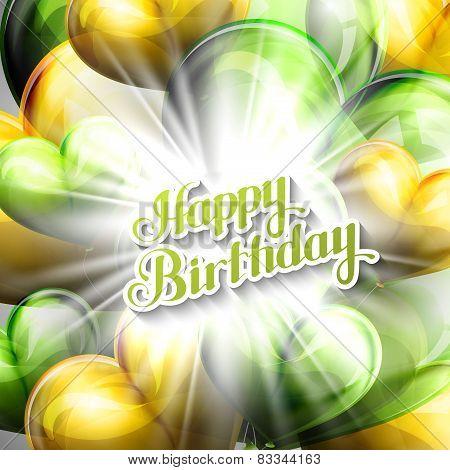 illustration of Happy Birthday emblem with balloon hearts