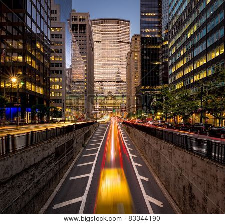 Car Light Trails, Park Avenue South, New York City