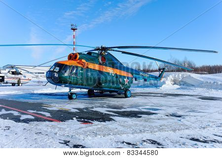 NIZHNY NOVGOROD. RUSSIA. FEBRUARY 17, 2015. The green Mi-8 helicopter with an orange strip