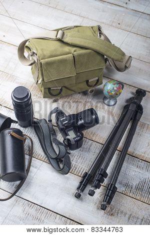 Photographer Camera Bag And Tripod