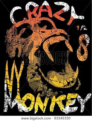 Vector illustration, funny monkey