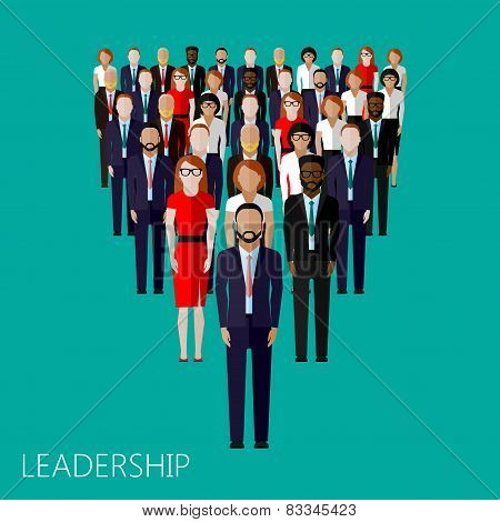 flat illustration of leader and team. group of business people