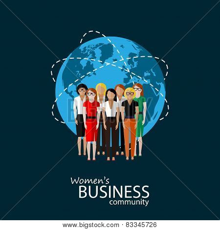 flat illustration of women business community. group of business people