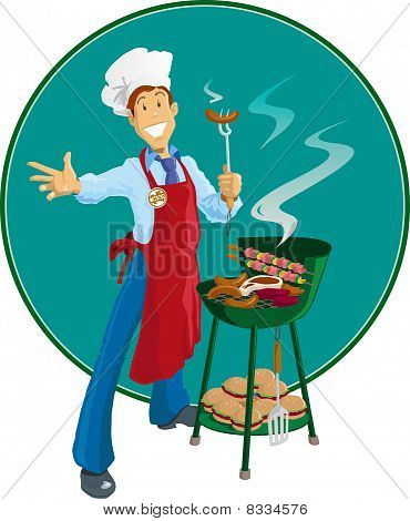 Retro style chef with barbeque