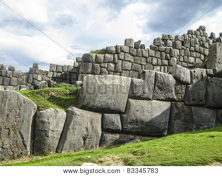 Sacsayhuaman, Incas Ruins In The Peruvian Andes At Cuzco Peru