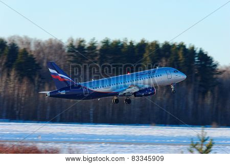 NIZHNY NOVGOROD. RUSSIA. FEBRUARY 17, 2015. SSJ-100 plane of the company Aeroflot