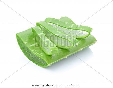 aloe vera fresh leaf isolated on white background