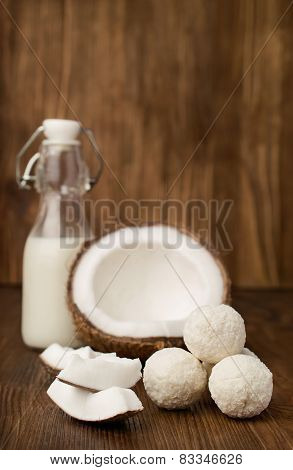 Coconut,  Milk  In A Glass Bottle And Candies