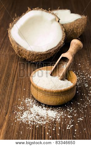 Coconut Flakes And Fresh Coconut