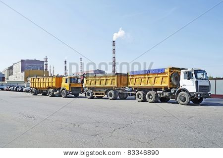 Trucks On The Background Of A Chemical Plant In Gomel, Belarus