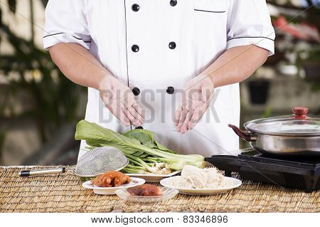 Chef Prepared Cooking With Noodle Ingredient