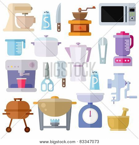 Kitchen Utensils Theme Flat Icons On White Background