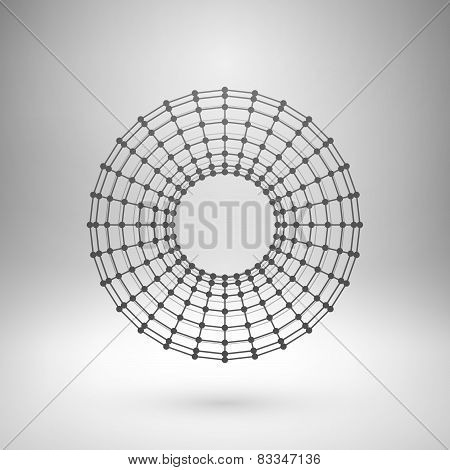 Wireframe mesh polygonal torus.