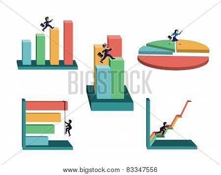 businessman with business graphs set