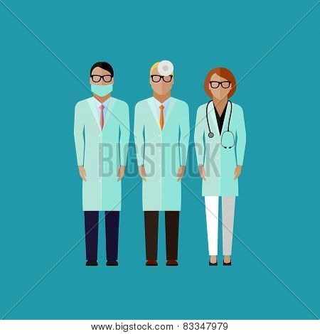 flat illustration of doctors. medical and healthcare concept