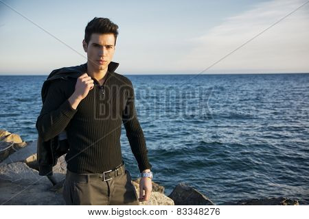 Handsome Fashionable Young Man At The Seaside