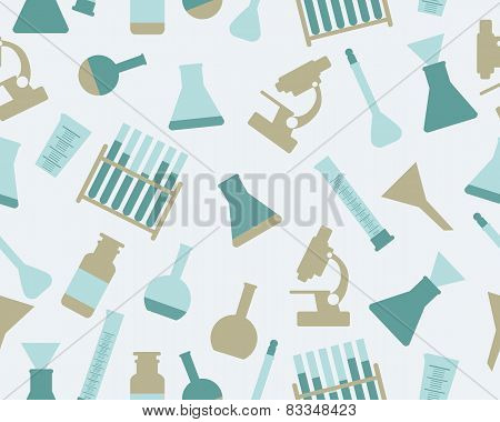 Background chemistry. Laboratory equipment. Vector seamless pattern