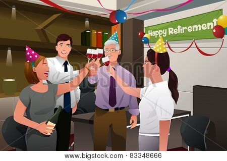 Employees In The Office Celebrating A Happy Retirement Party Of A Coworker