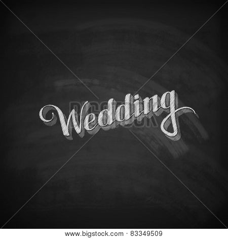 chalk illustration of handwritten Wedding retro label
