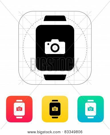 Camera in smart watch icon.