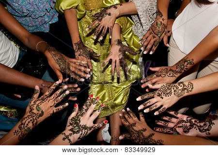 Henna Tattoo In A Bride's Hand And Her Guess For Wedding
