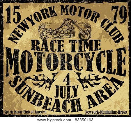 Vintage Motorbike Race Hand drawing T-shirt Printing