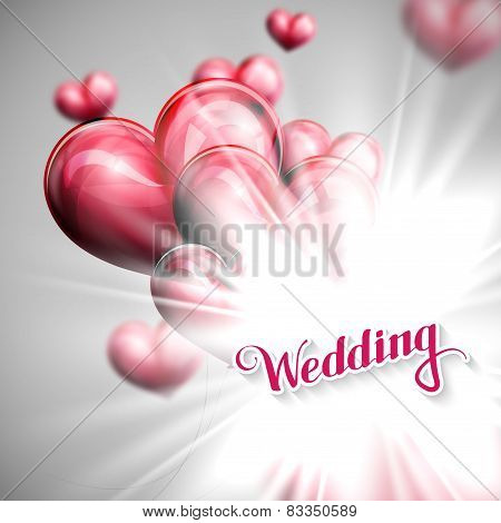 holiday illustration of  Wedding label with balloons