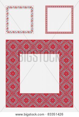 Set square frame ornamental ethnic. Vector illustration