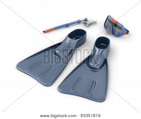 Scuba Snorkeling Blue Diving Set Isolated On White Background