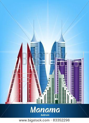 Colorful City of Manama Bahrain Famous Buildings