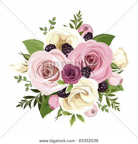 Pink and white roses and lisianthus flowers. Vector illustration.