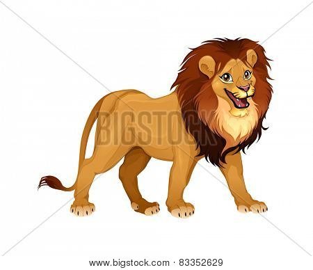 Lion king. Cartoon vector isolated animal.