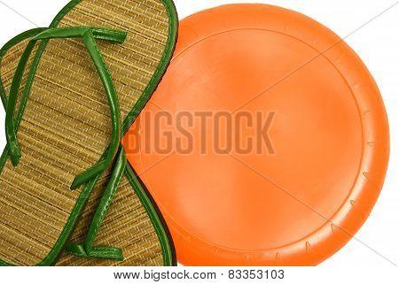 Summer Sandals With Blank Orange Disc