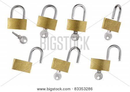 Brass Padlock and sliver Key