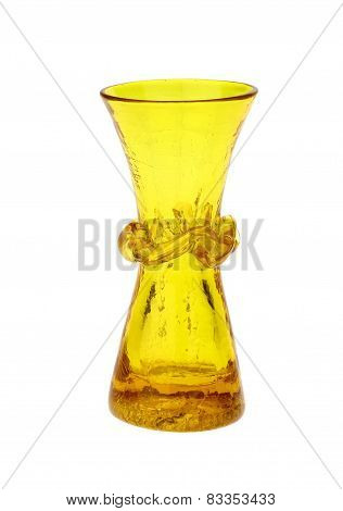 Yellow Crackle Glass Flower Vase