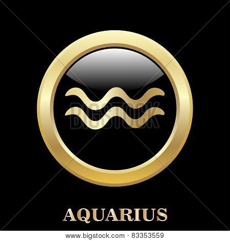 Aquarius Zodiac Sign In Circle Frame