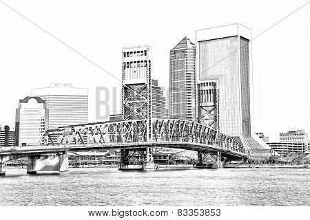 Sketch Of Jacksonville Florida Skyline