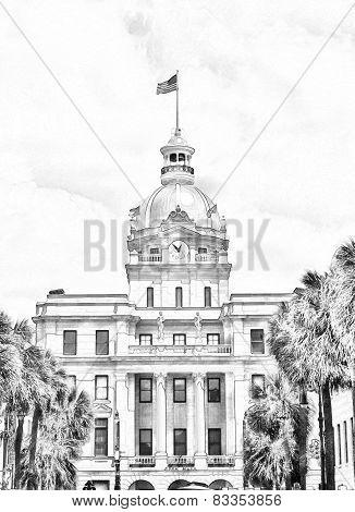 Sketch Of Historic Savannah Georgia City Hall