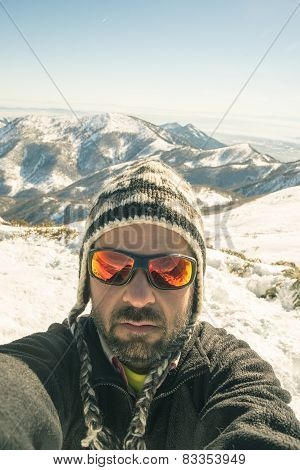Tour Skier Taking Selfie