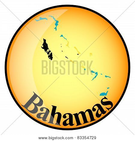 Orange Button With The Image Maps Of Bahamas