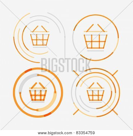 Thin line neat design logo set, clean modern concept, shopping cart icon
