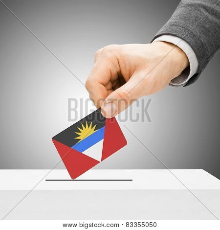 Voting Concept - Male Inserting Flag Into Ballot Box - Antigua And Barbuda